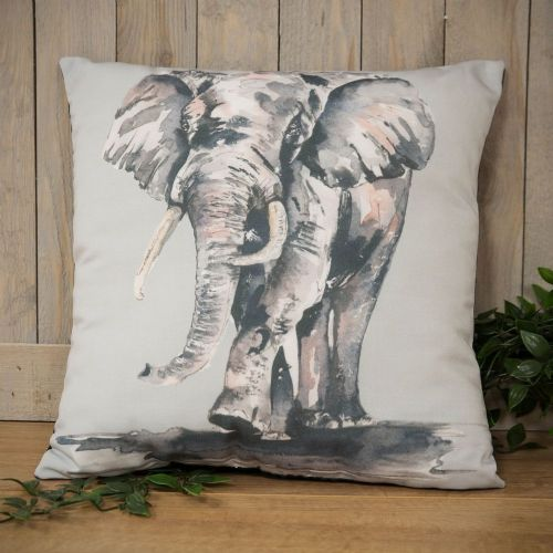 Elephant Cushion - Natural World Watercolour print Elephant design Scatter Cushion